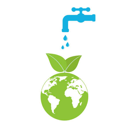 symbol of ecology. Image of the water of the planet. Image of the earth with a tap