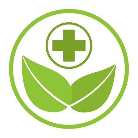 medical green pharmacy sign. leaf with a cross on a white background Vectores