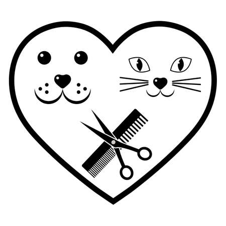pet beauty salon emblem. dog and cat silhouette on heart background