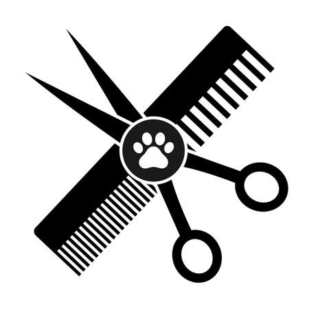 animal grooming emblem. scissors with a comb and a trace of a dog