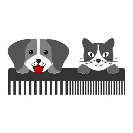 Dog and cat with comb on a white background. Symbol of hairdresser for animals silhouette Vectores