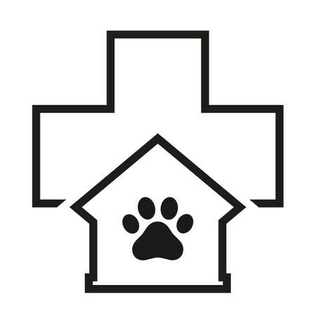 veterinary clinic emblem with a paw on the background of a medical cross