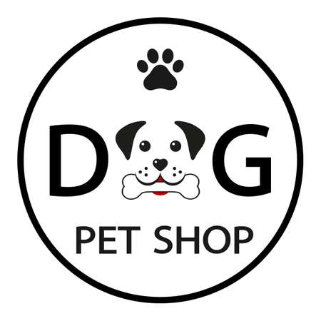 pet shop emblem for animals dog muzzle with bone and lettering in circle Vectores
