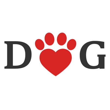emblem love for dog lettering with heart on white background Vectores