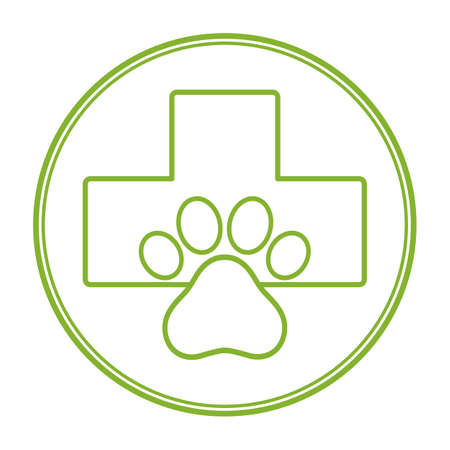 pet shop emblem with green cross and dog paw silhouette for pet shop or pet store business Vectores