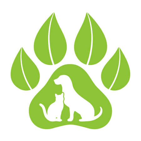 emblem organic products for animals. template for pet store silhouette of a dog and cat on the background of paws with leaves