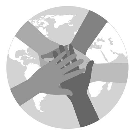 Illustration of a people's hands together holding planet earth. Race equality, feminism, tolerance, climate change, ecology on a white background Vectores