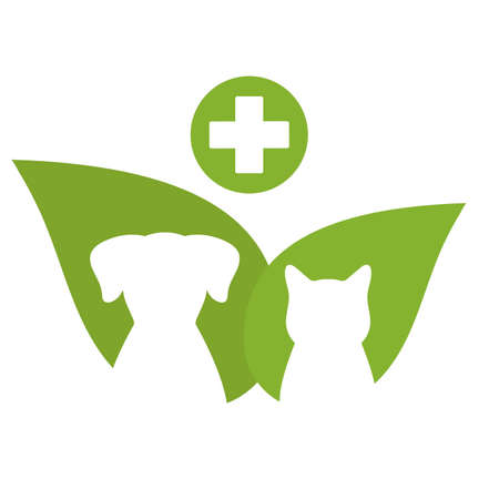 Clinic pets logo dog and cat on green leaf background and medical cross