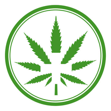 illustration medical marijuana. Cannabis leaf with white cross on white background Vectores