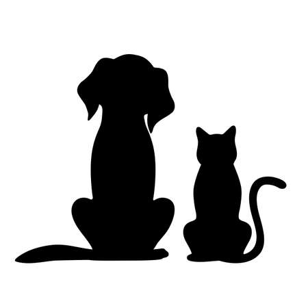illustration of black silhouettes of dogs and cats on a white background