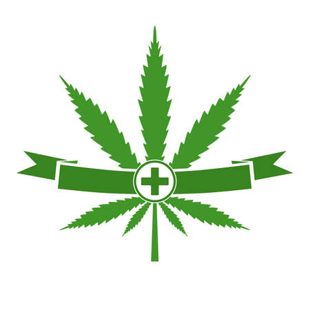 hemp leaf with green cross and banner, symbol of medical marijuana. Vectores