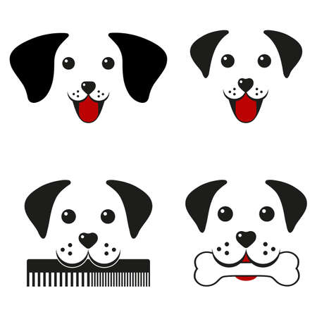 illustration set of cute dogs faces on white background