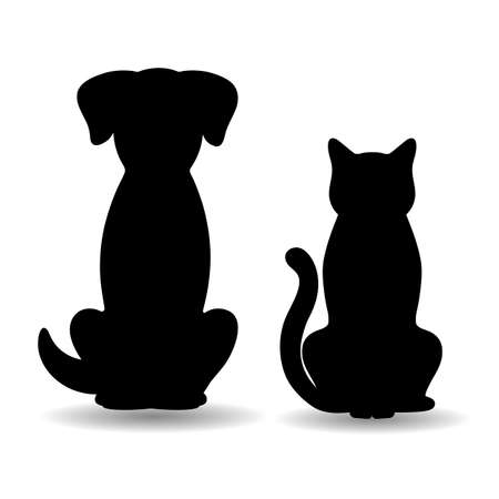 illustration of silhouettes of dog and cat with shadow on white background Vectores