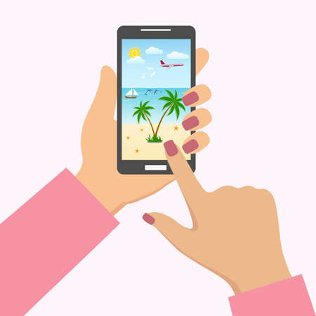 illustration app for travel, tourism and booking on mobile smart phone touch screen