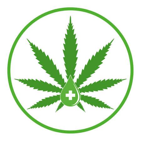 medical marijuana emblem with a drop of hemp oil, cannabis extract.