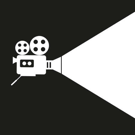 Video camera icon in retro style. Media symbol. Flat design on black background