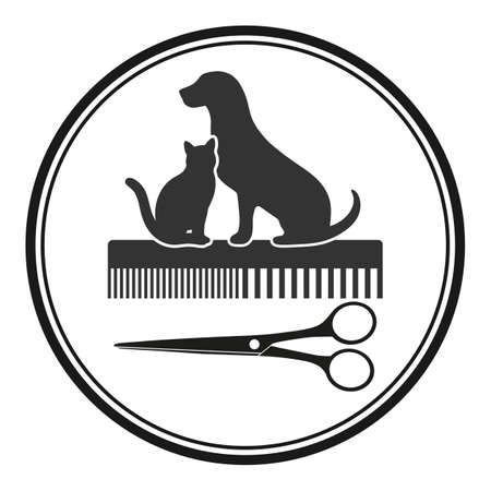 animal haircut emblem. dog and cat with comb and scissors in a circle Vectores
