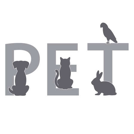 silhouettes of pets on the background of the lettering pet