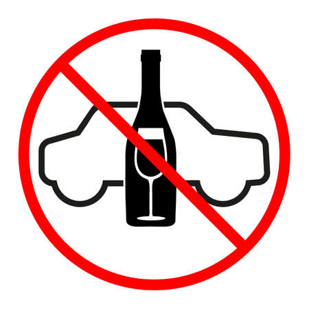no alcohol sign while driving alcohol in a red crossed out circle Vectores
