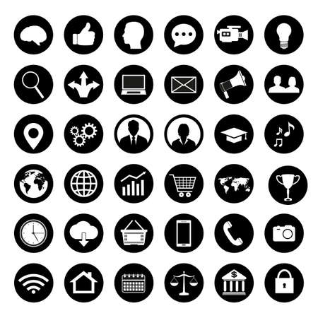 illustration set of icons for business. Icons for management, finance, strategy, marketing on a white background. Vectores