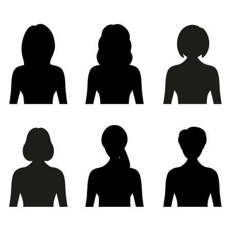 illustration of female black silhouettes avatar on white background Vectores
