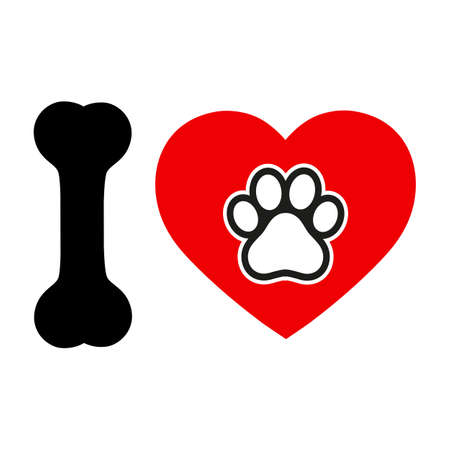 emblem love for dog. heart with paw and bone on white background