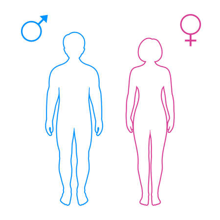pink and blue silhouettes of man and woman with symbols on white background Vectores