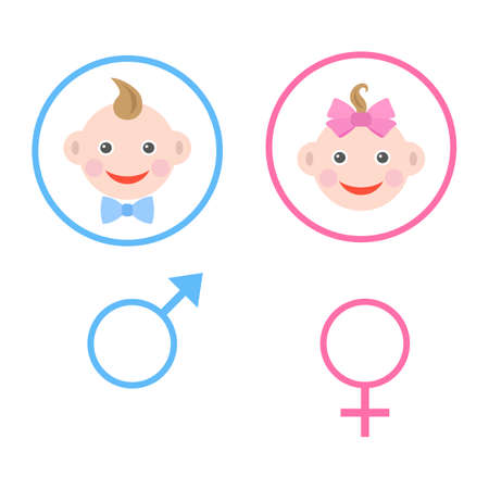 illustration of boy and girl head in pink and blue circle with symbols Vectores