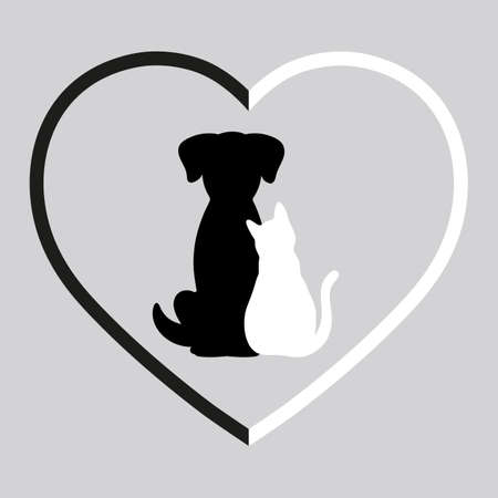 silhouette of dog and cat in black and white heart on gray background Vectores