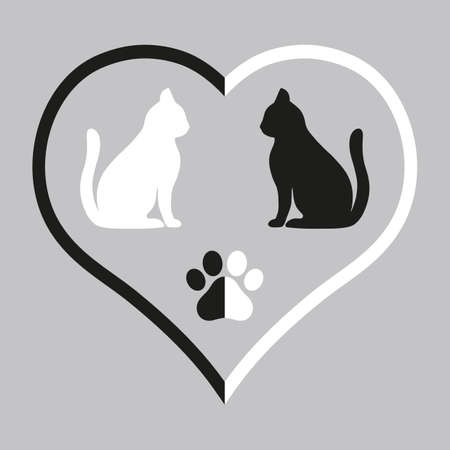 illustration of silhouettes of cats in black and white heart and paw on gray background