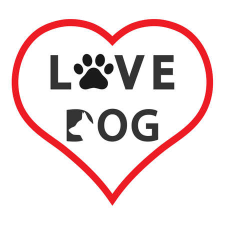 emblem love for a dog lettering in heart on white background