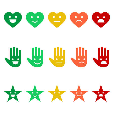 illustration of a variety of emotions emoticons in the form of a heart, hands and stars on a white background
