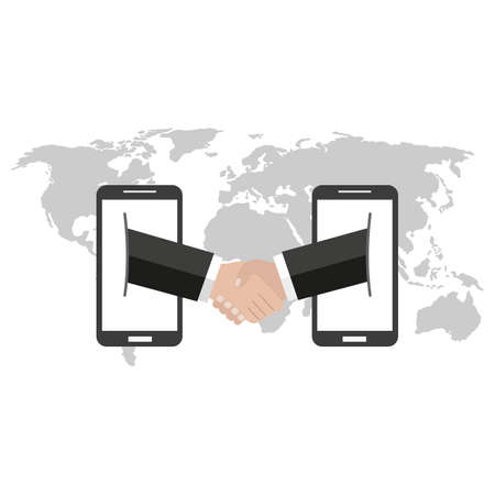 Handshake. business partnership illustration, mobile business concept on the background of the globe Vectores