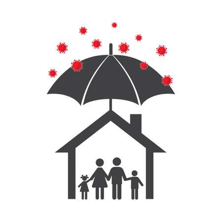 illustration Family under the umbrella in house avoid virus attacks. on a white background Illusztráció