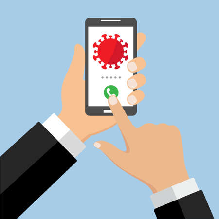 illustration of hand with smartphone with virus on screen. Online awareness on a blue background