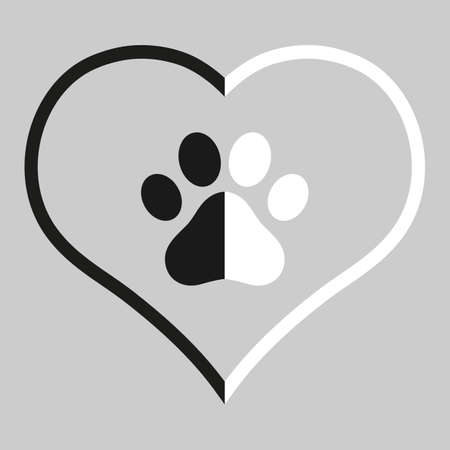 dog paw emblem in black and white heart on gray background Vectores