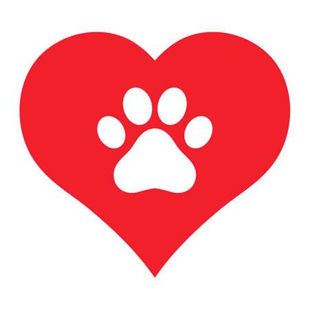 illustration emblem love for animals. dog paw on heart background