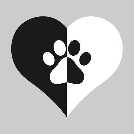 animal love emblem. dog paw on black and white heart background Vectores