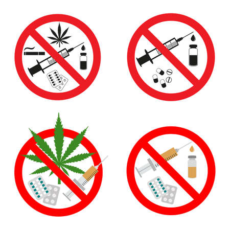 illustration set of prohibited drugs signs in red crossed out circle on white background