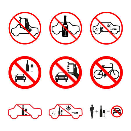 illustration set of signs prohibited alcohol, drugs driving a car on a white background Vectores