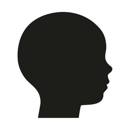 illustration of a silhouette of a child's head on a white background