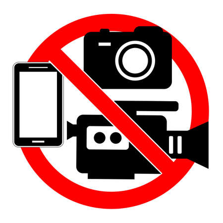 prohibited sign camcorder, camera and telephone in a red crossed out circle on a white background