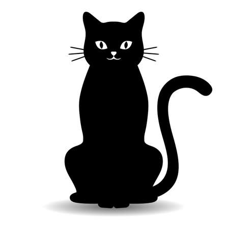 illustration of cute black cat with shadow on white background