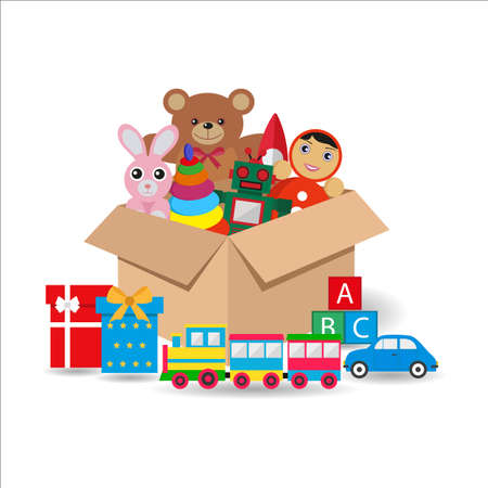 illustration of cardboard box with toys and gifts on white background