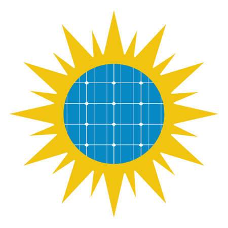 Solar panel icon in the sun on a white background. Ilustracja