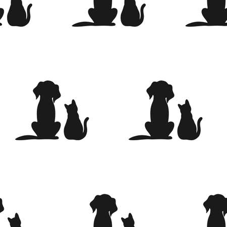 illustration of seamless pattern silhouette of black cat and dogs on white background Illustration