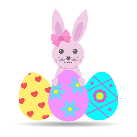cute rabbit with pink bow and easter eggs on white background with shadow
