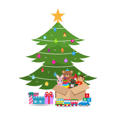christmas tree with gifts and box with toys on white background Illustration