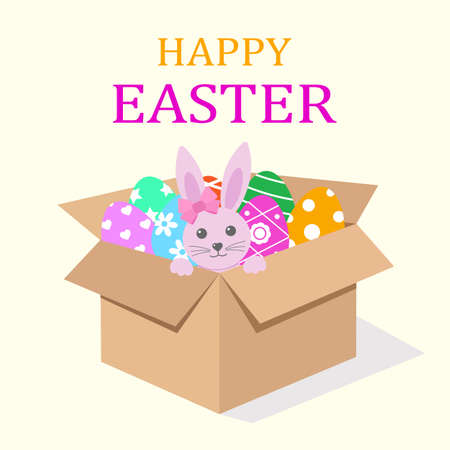 box with easter eggs and pink bunny with text on yellow background Illustration