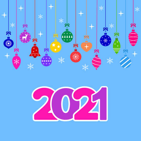 illustration of multicolored christmas toys with text on a blue background Illustration